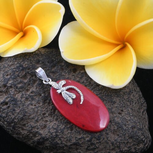 Royal Bali Collection- Coral (Ovl) Dragonfly Pendant in Sterling Silver