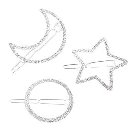 3 Piece Set - White Austrian Crystal Crescent Moon, Star and Circular Shape Hair Clips in Silver Ton