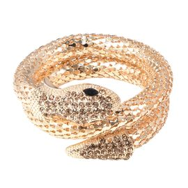 Champagne Austrian Crystal and Simulated Black Spinel Snake Bracelet (Size 7.5) in Yellow Gold Plate