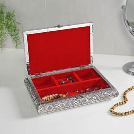 3D Embossed Collection Handcrafted Oxidised Book Shaped Jewellery Box with Butterfly Design (Size: 2