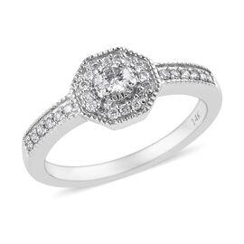 14K White Gold SGL Certified Diamond (G-H/I1-I2) Ring 0.33 Ct.