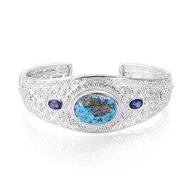 17.93 Ct Persian Turquoise and Masoala Sapphire Cuff Bangle in Sterling Silver 30.9 Grams