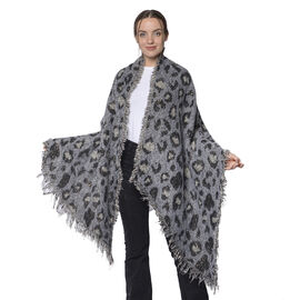 Designer Inspired Leopard Print Scarf (Size 220x60 Cm) - Grey and Black