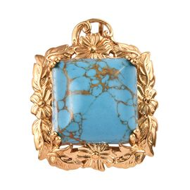 Blue Mojave Turquoise (Oct 18x18 mm) Pendant in 18K Yellow Gold Plated 26.00 Ct.