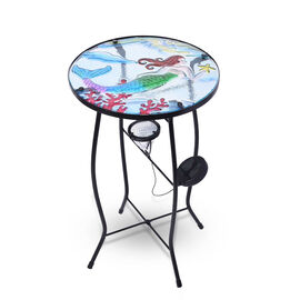 Hand Painted Mermaid Pattern Garden Table with Solar Light in Multi (Size 30.5x30.5x48cm)
