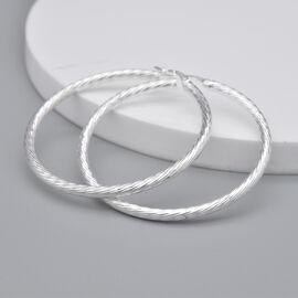 Italian Made - Sterling Silver Twisted Hoop Earrings