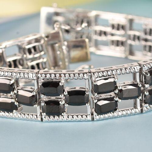 Elite Shungite Bracelet (Size 7.5) in Platinum Overlay Sterling Silver 15.00 Ct, Silver wt 28.90 Gms