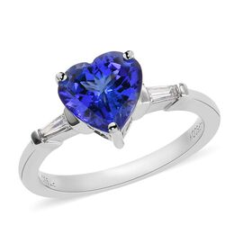 RHAPSODY 950 Platinum AAAA Tanzanite and Diamond (VS/E-F) Heart Ring 1.90 Ct.