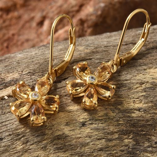 WEBEX- Brazilian Citrine (Pear), Natural Cambodian Zircon Earrrings (with Lever Back) in 14K Gold Overlay Sterling Silver 2.000  Ct.