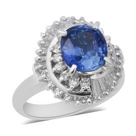 Signature Collection 3.21 Ct AAAA Royal Ceylon Sapphire and Diamond SI GH Halo Ring 900 Platinum 9.9