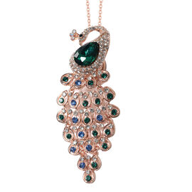 Simulated Emerald and Multi Colour Austrian Crystal Peacock Brooch or Pendant With Chain (Size 24) i