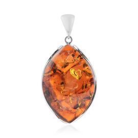 Baltic Amber Pendant in Sterling Silver, Silver wt 19.20 Gms