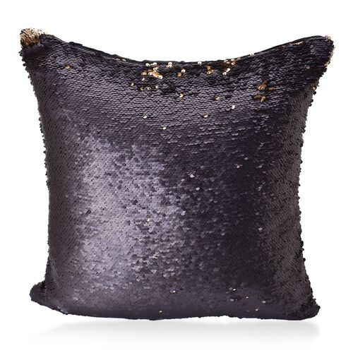 2 Piece Set - Two Tone Cushion Colour Change Golden and Black Cover with Sequins at Frontside (Size 40X40 Cm)