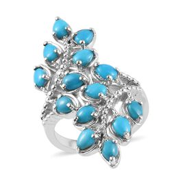 Arizona Sleeping Beauty Turquoise (Pear) Leaf Bypass Ring in Platinum Overlay Sterling Silver 2.00 C