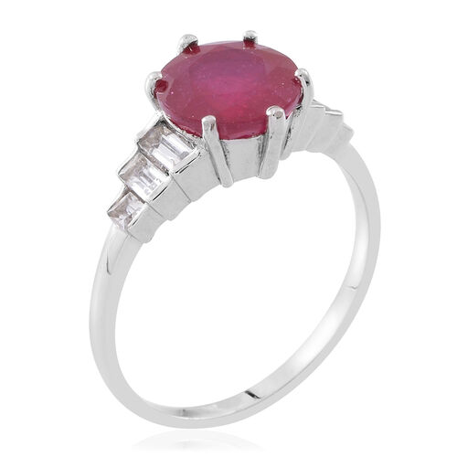 Designer Inspired- African Ruby (Rnd 4.15 Ct), Natural White Cambodian Zircon Ring in Rhodium Plated Sterling Silver 5.500 Ct