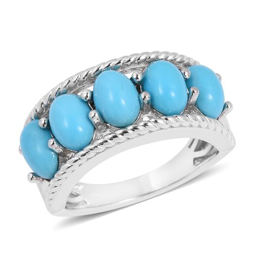 Arizona Sleeping Beauty Turquoise (Ovl) 5 Stone Ring in Rhodium Overlay Sterling Silver 3.750 Ct.