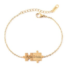 Personalised Engravable Puzzle Bracelet, Size 6.5+1.5 Inch, Stainless Steel