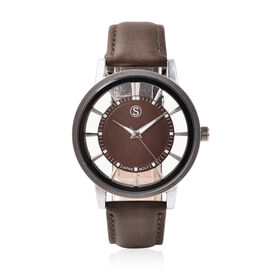 STRADA Japanese Movement Dark Brown Dial Water Resistant Watch with Dark Brown Colour Strap