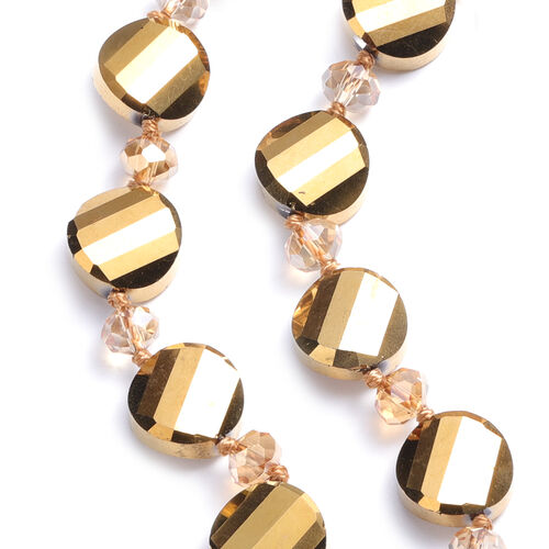 2 Piece Set - Simulated Champagne Quartz and Simulated Champagne Diamond Hook Earrings and Necklace (Size 20)