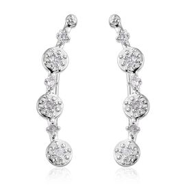 Diamond (Rnd) Climber Earrings in Platinum Overlay Sterling Silver 0.15 Ct.