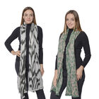 Set of 2 - Soft and Lightweight Ladies Green Leopard and Black Zebra Print Scarf with Small Fringes