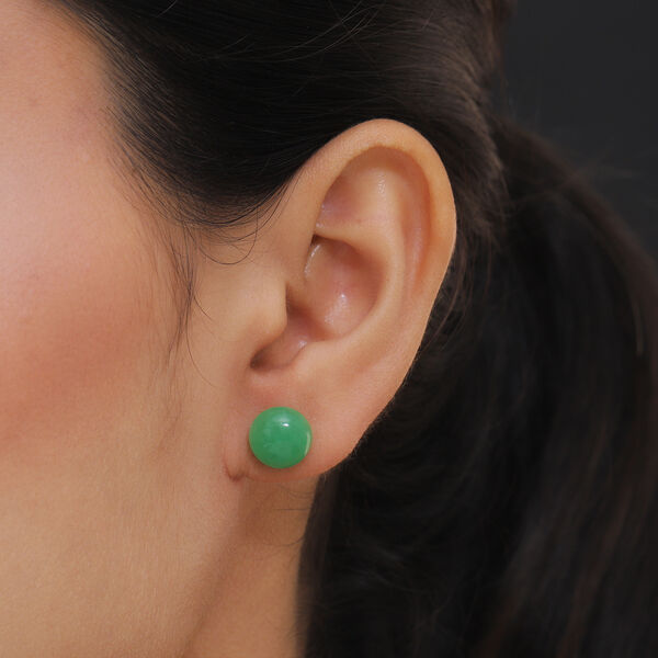 Green Jade Stud Earrings (with Push Back) in Sterling Silver 9.45 Ct.