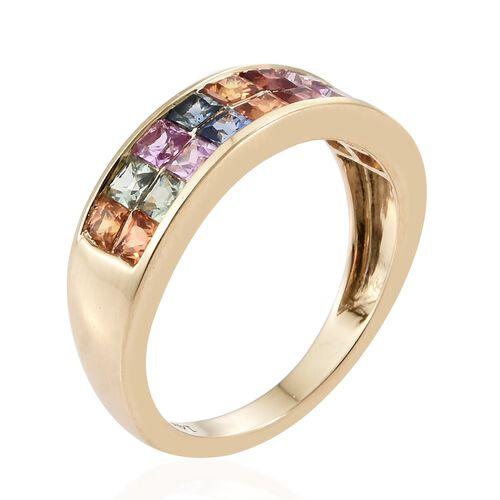 14K Yellow Gold Rainbow Sapphire (Sqr) Half Eternity Band Ring 2.200 Ct.