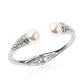 Simulated Pearl and White Austrian Crystal Hinged Bangle (Size 6.5) in Silver Tone
