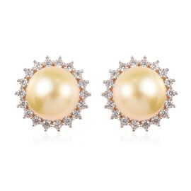Golden South Sea Pearl and Natural Cambodian Zircon Earrings (with Push Back) in 14K Gold Overlay St