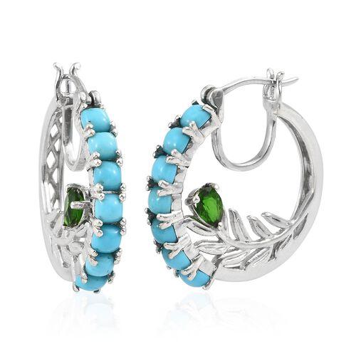 Arizona Sleeping Beauty Turquoise (Cush), Russian Diopside Hoop Earrings (with Clasp Lock) in Platin
