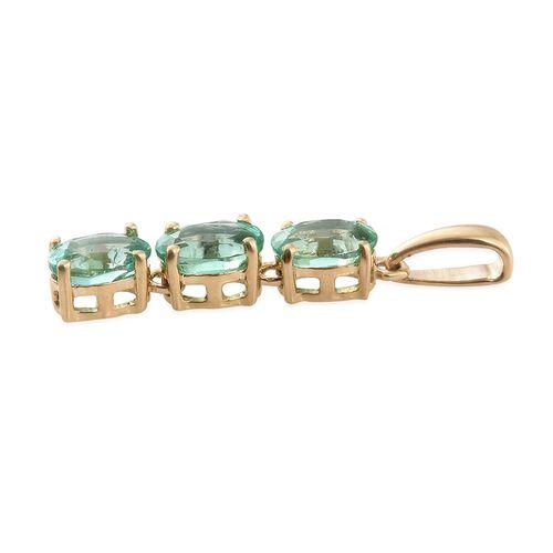 ILIANA 1.25 Ct AAA Boyaca Colombian Emerald Trilogy Pendant in 18K Gold