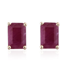 9K Yellow Gold AA Burmese Ruby (Oct) Stud Earrings (with Push Back) 1.300 Ct.