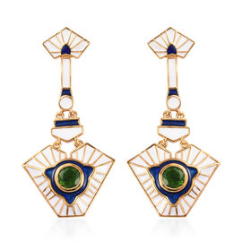 Russian Diopside Enamelled Earrings in 14K Gold Overlay Sterling Silver 1.50 Ct, Silver wt 8.00 Gms