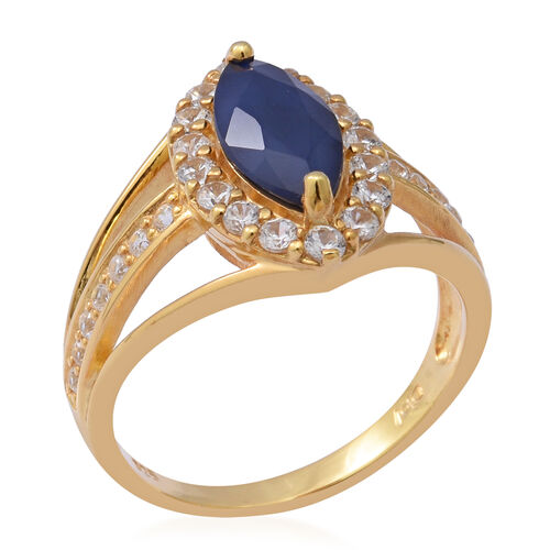 AA Kanchanaburi Blue Sapphire and Natural Cambodian Zircon Ring in Yellow Gold Overlay Sterling Silver 3.32 Ct.