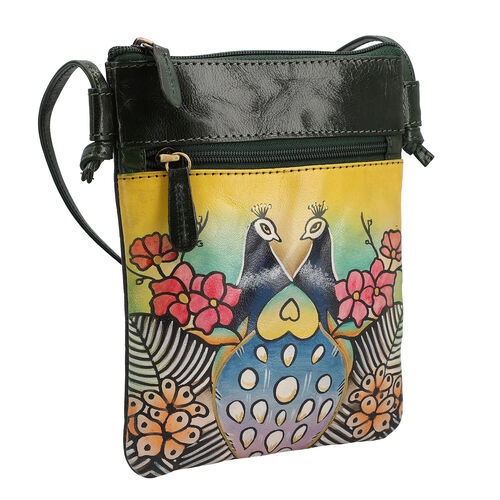 SUKRITI 100% Genuine LeatherTraditional Hand Painted Peacock Crossbody Bag (Size:15.75x19.81cm) with Shoulder Strap (135cm) - Mustard and Multi Colour