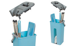 Davis & Grant Flat Mop with Dual Bucket - 2 heads - Blue