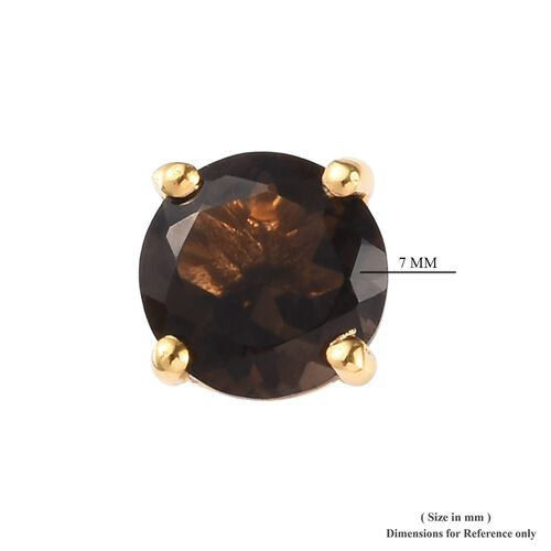 AA Brazilian Smoky Quartz (Rnd) Stud Earrings (with Push Back) in 14K Gold Overlay Sterling Silver 2.500 Ct.