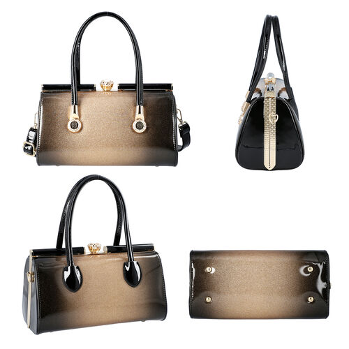 BOUTIQUE COLLECTION Gold and Black Barrel Style Bag with Detachable and Adjustable Shoulder Strap (Size 28x14x15 Cm)