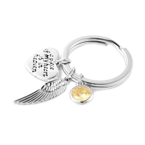 Charms De Memoire Sterling Silver Simulated Yellow Sapphire, Angel Wing and Heart Charms in Key Chain