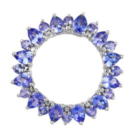Tanzanite (Pear and Rnd) Open Circle Pendant in Platinum Overlay Sterling Silver 2.25 Ct.