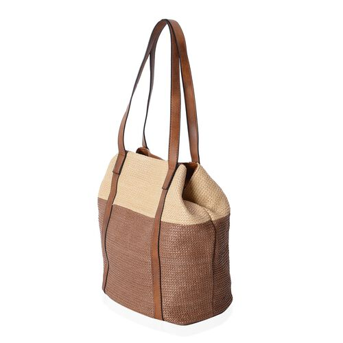 Estella Light Weight Beige and Coffee Colour Block Double Style Tote Bag (Size 45x30x29x20 Cm)