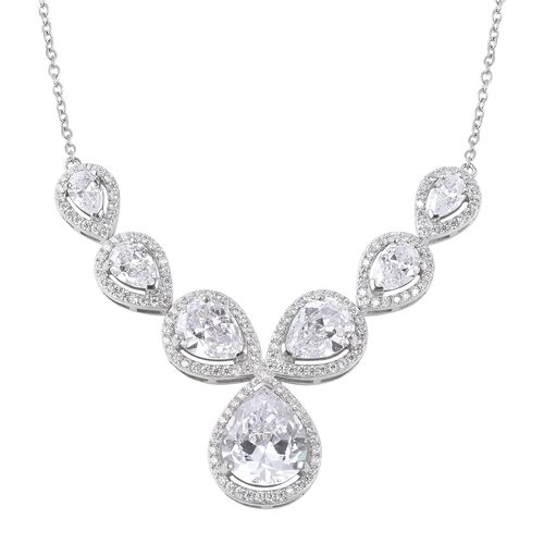 ELANZA Simulated Diamond Collar Necklace in Rhodium Plated Sterling Silver 10.56 Grams 18 Inch