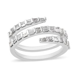 0.50 Ct Diamond Spiral Ring in Platinum Plated Sterling Silver