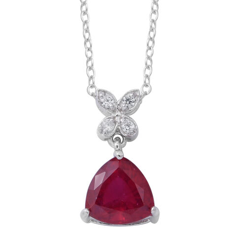 African Ruby (Trl 2.50 Ct), Natural White Cambodian Zircon Pendant with Chain in Rhodium Plated Sterling Silver 2.720 Ct.