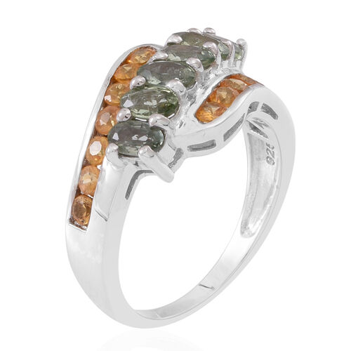 Songea Green Sapphire (Ovl), Chanthaburi Yellow Sapphire Ring in Rhodium Plated Sterling Silver 3.000 Ct.