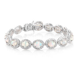 13.5 Ct Ethiopian Opal and Cambodian Zircon Bracelet in Platinum Plated Sterling Silver 16.82 Grams