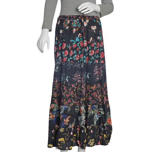 Designer Inspired -Midnight Floral Print Patchwork Maxi Skirt  (Free Size 135x97x76 Cm)