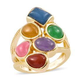 Multi Colour Jade Ring in 18K Yellow Gold Plated 6.500 Ct.