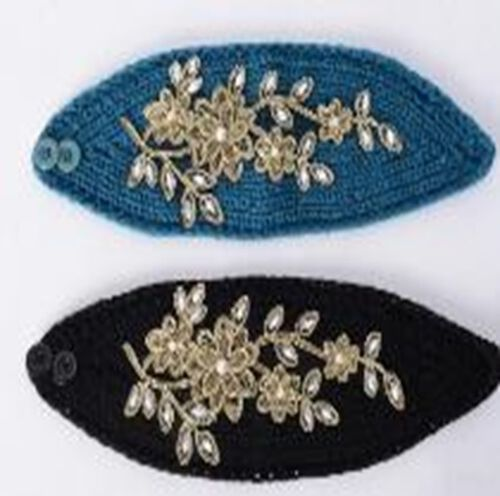 Black and Green Colour Flower Embroidered White Crystal Hairbands (Size 22.86x16.51 Cm)