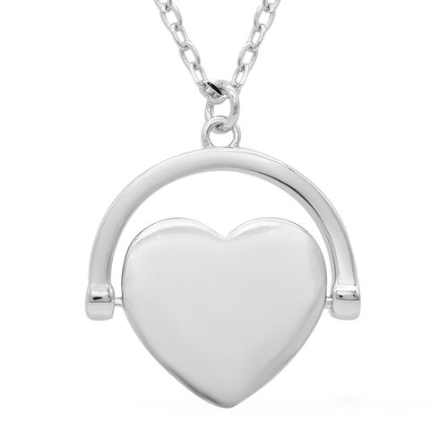Silver Spinner Heart Necklace, Size 17+1 Inch